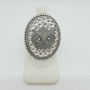 Gasoline GLAMOUR owl rhinestone charm ring sample